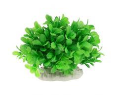 Sourcingmap Plástico Acuario Tanque Artificial Prickly hojas planta, 4.7-Inch, Verde