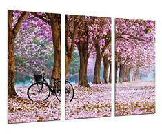 Cuadros Cámara Poster Fotográfico Camino Bosque en Otoño, Camino de Flores Rosas, Multicolor, Tamaño total: 97 x 62 cm XXL