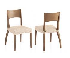 Bartali Pack Dos Fundas elásticas sillas Aitana - Color marfil -Tamaño (45 x 45 cm).