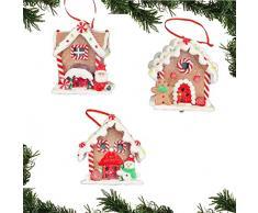 Shatchi - Juego de 3 Adornos Decorativos para Colgar en la Pared, diseño de Papá Noel, muñeco de Nieve y árbol de Navidad, Multicolor