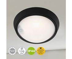 Briloner Leuchten LED, lámpara de Pared para Exterior con Sensor de Movimiento y Detector crepuscular, 12 W, 1.150 lúmenes, 4.000 Kelvin, Blanca/Negra, Redonda, Ø 17 cm