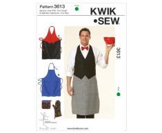 McCalls Patterns Kwik Sew K3613 - Patrón con instrucciones y letras para coser delantales, guantes y paños de cocina, color blanco