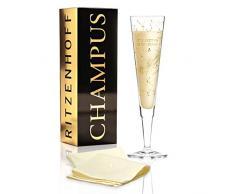RITZENHOFF Champus Copa de champán de Selli Coradazzi, de cristal, 200 ml, con noble oro y platino, incluye servilletas de tela
