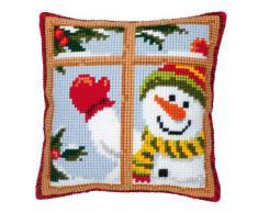 Vervaco - Plantilla para cojín de punto de cruz, diseño de muñeco de nieve, multicolor