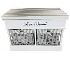 Geko - Banco de Asiento con 2 cestas y Tapa (70 cm, tamaño Grande), Color Blanco