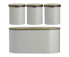 Typhoon Essentials - Juego de 4 tarros de Cristal (4 Unidades), Color Crema