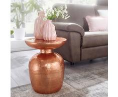 Wohnling mesa auxiliar delyla aluminio 36x 46x 36cm Mesa decorativa Cobre Cojín redondo, Diseñador estante mesa metal Modern, anstell mesa estrecho, pequeño martillado abstell mesa, 41x 41x 52cm