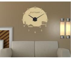 WTD RS162 - Reloj de pared con adhesivo decorativo (diseño con las letras de Stuttgart y el perfil urbano de la ciudad), braun 080, 50 x 50 cm