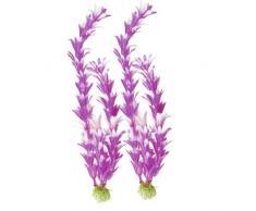 Sourcingmap Artificial Planta Hierba, 21,9, 2 piezas, púrpura/blanco