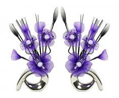 Flourish 723859 florero con a juego Par de qh1 Cadbury Morado y Blanco Artificial flor de nylon, 32 cm, tamaño pequeño