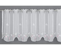 Gardinia Visillo (140 x 45 cm), diseño de Flores, Color Blanco