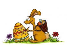Apalis Pegatina para Ventana con diseño de Conejo de Pascua n.º 36 para Ventana, 17 cm x 30 cm