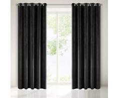 Eurofirany - Cortina Opaca de Terciopelo, Color Negro, 10 Ojales, Elegante, Glamour, Dormitorio, salón, salón, 140 x 250 cm
