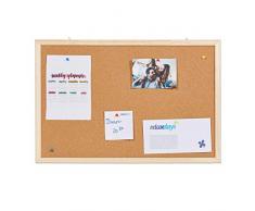 Relaxdays, 40 x 60 cm Tablón de Corcho, Pizarra para la Oficina, Chinchetas, Colgante, Marco de Madera, Cartón, Natural