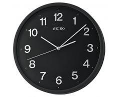 Seiko barrido segundo reloj de pared con 3d números, plástico, negro