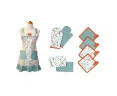 Costa del Pacífico Textiles estándar Utensilios Delantal, algodón, Multicolor, Set de 9