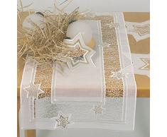 Spitze Plauner 6,3 x 14 cm de encaje de Navidad tienda de campaña para camino de mesa con forma de estrella, colo beige/dorado