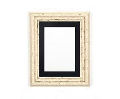 Marco de Fotos y pósteres con Tablero de Fibra de Densidad Media, Marco Blanco Envejecido con Soporte Negro, tamaño A3 para Foto A4