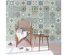 Wallplus - Adhesivos Decorativos para Pared, diseño de Azulejos Verdes Vintage, Vinilo, 63,5 x 63,5 x 3 cm