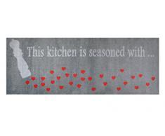 Alfombrilla LifeStyle 100253 Corazoncitos, alfombra antideslizante y lavable, ideal para el armario, la cocina o el dormitorio, 67 x 170 cm, gris / rojo
