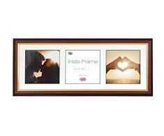 Inov8 21 x 20,32 cm Insta-Frame Marco para Instagram 3/de Estampado a Cuadros de Fotos con paspartú Blanco y Blanco con Borde, 2 Unidades, Madera de Caoba