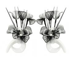 Flourish Diseño de flores de 793715 32 cm a juego Mini de remolino de flores artificiales en jarrón, negro/blanco