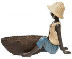 Better & Best Figura Decorativa de niño Sentado Chaleco Crema Pierna Estirada cesto Pantalon, Azul, Medidas 23x11,5x17 cm, Material: Resina, Talla única