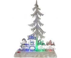WeRChristmas Pre-Lit LED que cambia de color árbol de Navidad Musical y tren Escena Decoración, Plástico, Multicolor, 35 cm