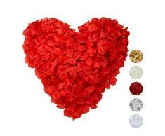 Relaxdays Pétalos de Rosa, Pack de 3000, Flores Artificiales, Decoración Boda, San Valentín, Tela, 5 x 5 cm, Rojo