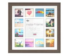Inov8 16 x 40,64 cm Insta-Frame Austen marco para Instagram 13/de estampado a cuadros de fotos con paspartú blanco y negro con borde, 2 unidades, Mid gris