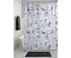 InterDesign Chalk Floral SC Cortina de ducha   Cortina para bañera o plato de ducha, 183 x 183 cm, secado rápido   Cortina de baño con estampado floral   Poliéster azul claro