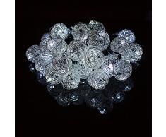 H&D Youngsun Cadena de 30 luces LED solares de ratán, bolas de metal, 6,35 metros, para exterior, exterior, jardín, blanco frío, fiesta, decoración, Navidad, boda, iluminación