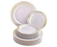 VAJILLA DESECHABLE DE 40 PIEZAS | 20 platos grandes | 20 platos de ensalada | Platos de plástico resistente | Aspecto de porcelana elegante | Colección Bella (Oro)