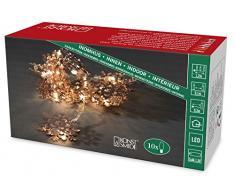 Konstsmide LED guirnalda, copos de nieve de metal de color cobre, 10 diodos de luz blanca cálida, funciona con pilas, interior, 3 x AA 1,5 V exklusive, cable transparente 3146-603