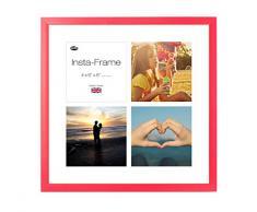 Inov8 16 x 40,64 cm Insta-Frame Marco para Instagram 4/de estampado a cuadros de fotos con paspartú blanco y blanco con borde, diseño de León heráldico rojo