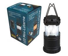 Idena - Mini farolillo con 33 ledes blancos y luz de llama intercambiable, extensible y portátil, funciona con pilas, ideal para camping, en el jardín, como luz de ambiente, color negro