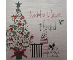 White cotton cards Nadolig Llawen Friend gallois tarjeta de Navidad hecha a mano en forma de árbol de navidad y regalos