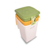 Duplast 7463 50L- Cubo de basura para reciclaje diferenciado, rectangular, colores verde, blanco y amarillo, 50 L, 370 mm, 370 mm, 530 mm, conjunto de 3 piezas