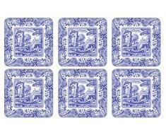Azul Italiano MDF con Corcho 10,5 x cm 10,5 Parte Posavasos, 6 Unidades, Azul/Blanco
