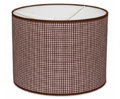 Taftan - Pantalla para lámpara de techo colgante (35 cm de diámetro, tamaño pequeño), diseño de cuadros de 3 mm, color marrón