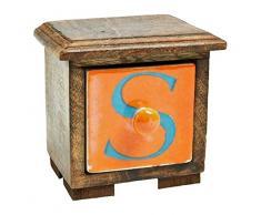 MG Decor - Madhu tamaño grande COLLECTION es de madera de densidad media/madera/madera de palisandro/de cerámica S diseño de letra de joyería de madera/en caja de regalo