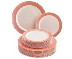 VAJILLA DESECHABLE DE 40 PIEZAS   20 platos grandes   20 platos de ensalada   Platos de plástico resistente   Aspecto de porcelana elegante   Colección Pastel (Rosado)