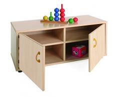 Mobeduc 600104HPS18 - Mueble infantil superbajo/armario con 4 casillas, madera, color haya, 90 x 40 x 44 cm