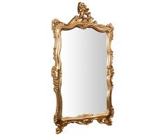 Biscottini - Espejo de Pared Estilo Shabby de Madera con Acabado de Hoja de Oro Envejecido - Medidas 66 x 7 x 118 cm - Fabricación Artesanal Fiorentino - Fabricado en Italia