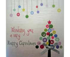 White Cotton Cards diseño con texto Merry Very Wishing You a tarjeta de Navidad, hecha a mano, diseño de árbol, varios colores