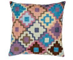 45 x 45 cm de lana Zaida/algodón crochet cojín, Multi-color