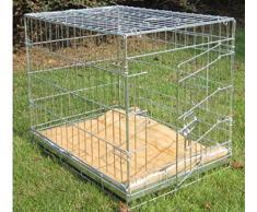 BUNNY BUSINESS - Caja de Metal para Perro con 2 Puertas con Rodillos para Ropa de Cama y Pelusas, pequeña, 60,96 cm, Color Plateado