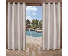 Home Exclusive Exclusiva casa Cortinas Delano Indoor/Outdoor Pesados con Textura Ojal metálico en la Parte Superior Ventana Cortina Panel par, Plata, 54x 96
