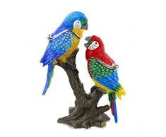 TREASURED TRINKETS Parrots on Branch - Caja de joyería con Adorno