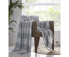 Portfolio Epsom - Manta para sofá Cama, algodón, Gris, 228 x 250 cm